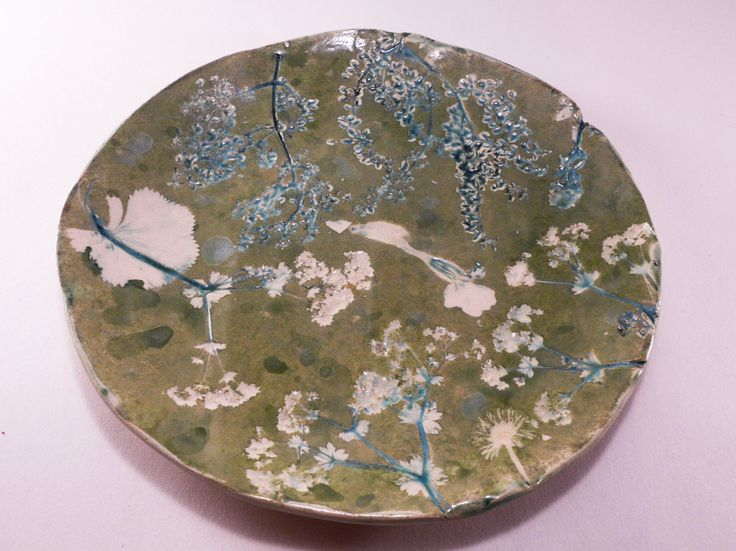 Ceramic plate pressed flowers, pressed leaves, handmade pottery, handmade ceramic, green plate, ceramic and pottery, natural art by CeramicsNaturalist on Etsy