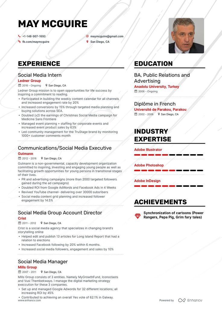 Social media resume example and guide for 2019 resume