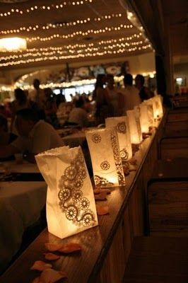 paper luminaries with paper doilies glued on inside bags shorter tho... More structure -- up sidewalk area maybe