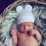 Baby Bear White Newborn Boy or Girl Hospital Hat - Gender Neutral