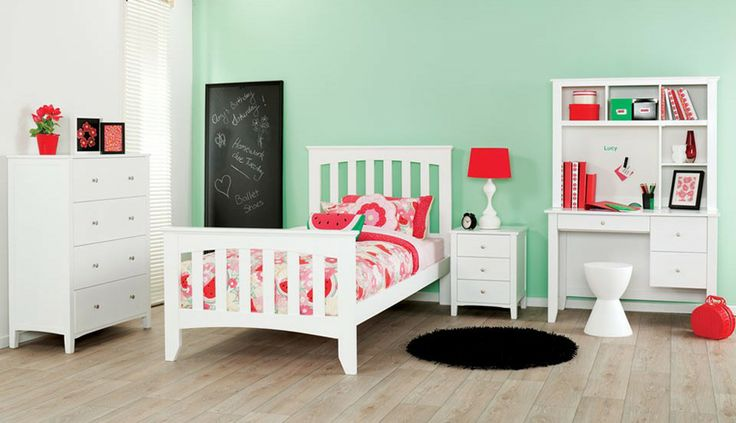 Nova white children's bedroom furniture suite with pink and white patterned linen and décor