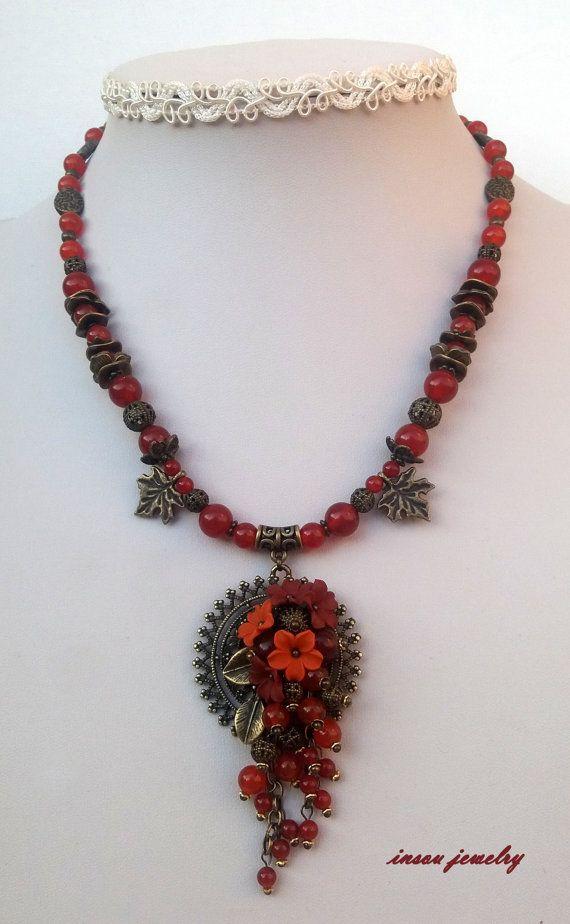Fall Jewelry Fall Flowers Jewelry Pendant Earrings by insoujewelry