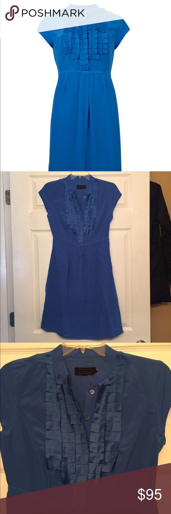 """New Ted Baker Blue Silk Empire Waist Dress New, never worn Ted Baker empire waist silk cobalt blue GUSADI dress. Tiered fabric and button closure in front (top), hidden side zipper, cap sleeves. Original size/care tags clipped to prevent store return. Ted Baker size 2 is a US size 6. Approximately 16"""" from arm to arm and 35"""" long. Ted Baker Dresses"""