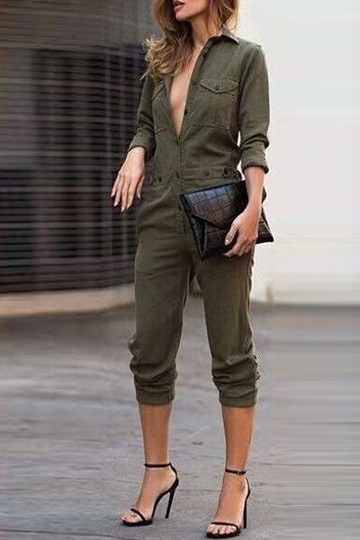 Stylish Shirt Collar Single-Breasted Long Sleeves Jumpsuit For Women