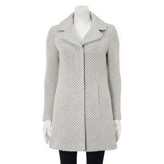 Edina Ronay Cream & Grey Textured Wool Coat
