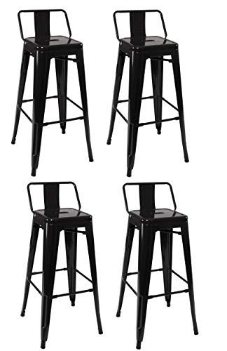 Duhome Industrial Design 30 Metal Bar Stools Set Of 4 With Back