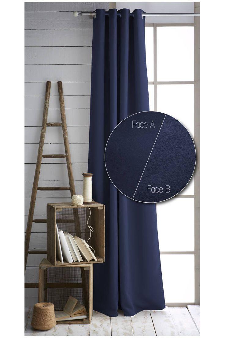 Rideau occultant et isolant bleu, 140 x 240 cm - En polyester