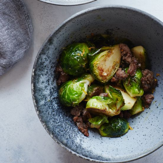 These skillet-cooked brussels sprouts with sausage and cumin require just 12 minutes to make.