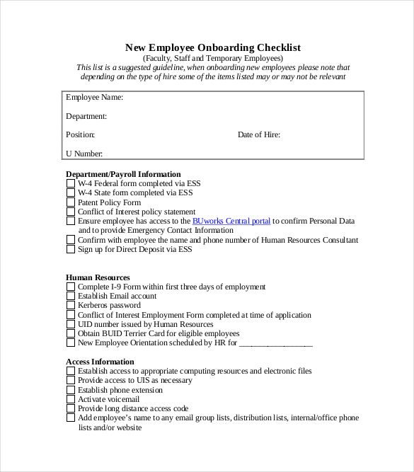 onboarding checklist free pdf format template download