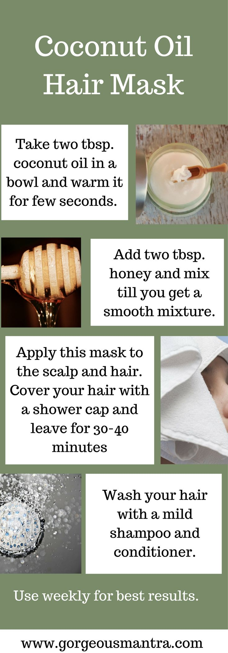 DIY coconut oil hair masks. Coconut oil nourishes hair and improves hair growth. It can be used to make simple homemade hair masks that are great for your hair.