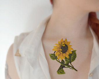 25 best sunflower tattoo images on pinterest sunflower for Sunflower temporary tattoo