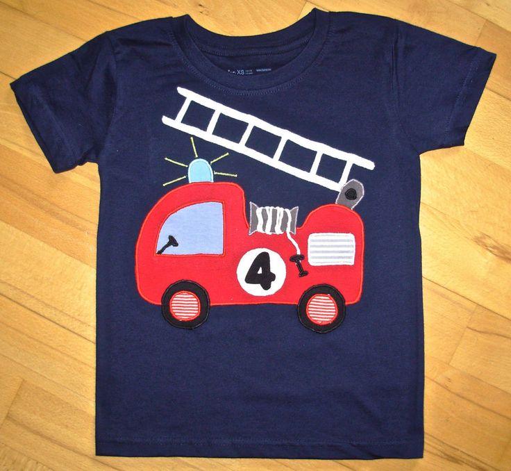 Unikat T-Shirt/Geburtstags-Shirt mit großer FEUERWEHR-Applikation Gr.110/116 NEU