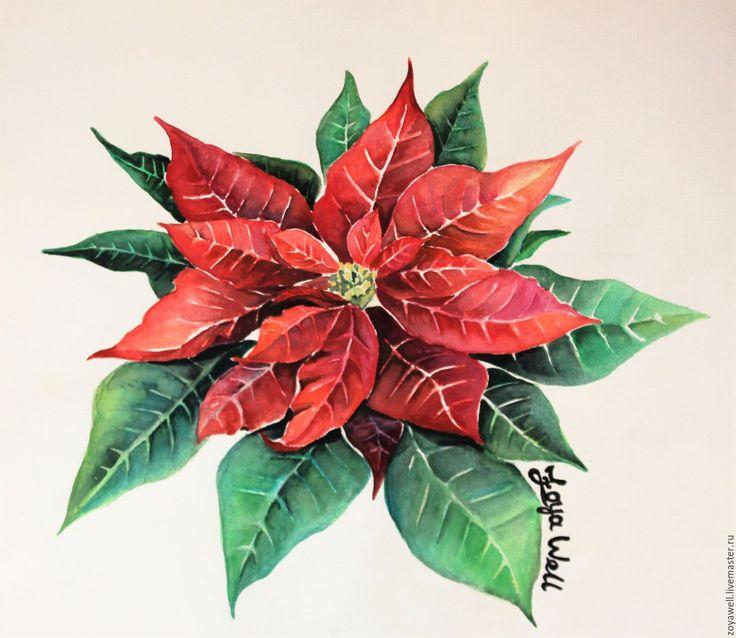 """Купить """"В лепестках алой Пуансеттии"""" - ботаническая иллюстрация акварелью - ярко-красный, Красный цветок"""