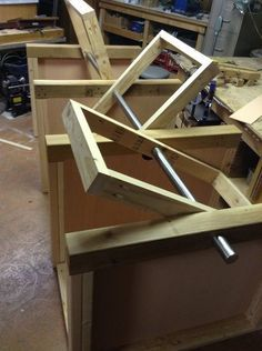 "Building a flip-top table is great way to save shop space. Building 3 flip-tops as one long table is even better. This project started with an 7' long 2""..."