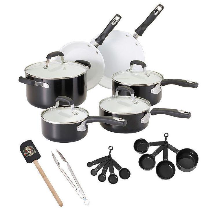 Guy Fieri 21-pc. Ceramic Nonstick Cookware Set, Black