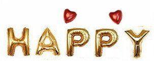 Share of happiness(シェアオブハピネス) 風船 HAPPY ハート付き 大きめサイズ ウェディング 結婚式 パーティー イベント 二次会 バルーン 飾り ゴールド