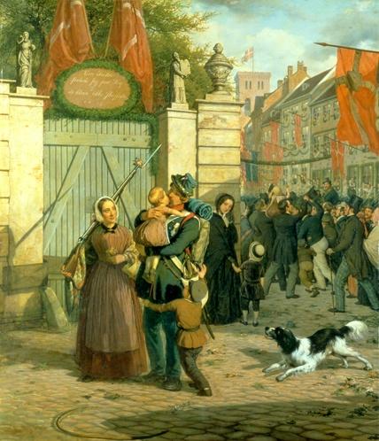 """""""Soldaternes hjemkomst til København 1849"""". Painted by David Monies, 1850. The Museum of National History, room 63."""