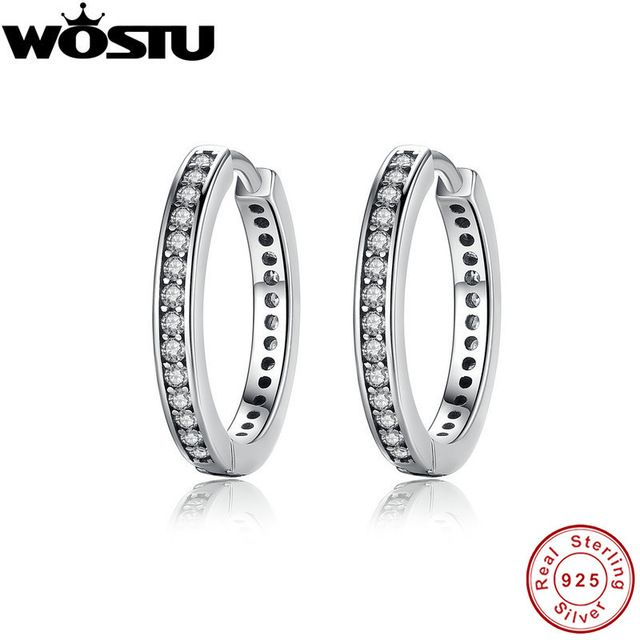 Discount Today $8.99, Buy High Quality 100% 925 Sterling Silver Party Eternity Hoop Earrings With Clear CZ For Women Lady Authentic Original Jewelry Gift
