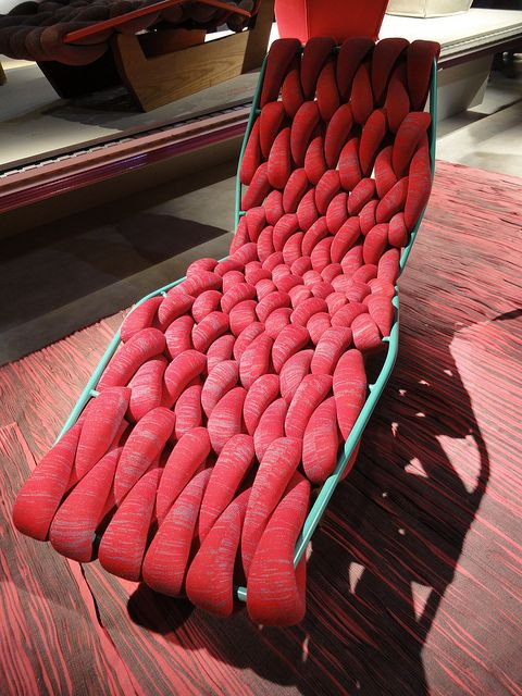 This over sized, knitted lounge chair is perfect for making a bold statement in both your home or out on the patio.