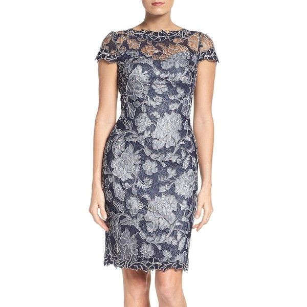 Women's Tadashi Shoji Embroidered Lace Sheath Dress (730 BGN) ❤ liked on Polyvore featuring dresses, petite, royal navy, lace dress, petite sheath dress, petite cocktail dress, navy blue cocktail dresses and navy blue lace cocktail dress