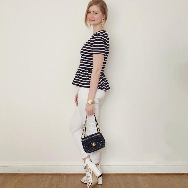 Fashion Fake in the Izzy Stripey Navy Peplum Top