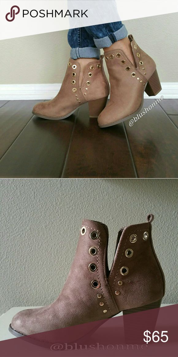 """Grommet Booties @blushonme at Poshmark   Grommet faux suede booties - Brown   ALSO AVAILABLE IN BLACK!  True to size with no wiggle room.  NOTE - I normally wear a 6, but for this cutie I bump up to 6.5.  Heel - Approx 2.5""""  PLEASE ASK QUESTIONS BEFORE BUYING. ALL SALES ARE FINAL. NO RETURNS.   BOX not included   ● PRICE IS FIRM ● Shoes Ankle Boots & Booties"""