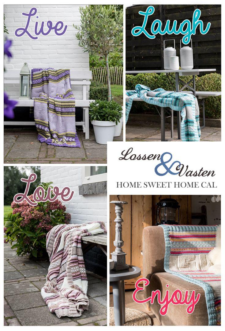 Haken met www.Knotje.nl  Scheepjes Lossen & Vasten CAL 2017 - Home Sweet Home. De deken wordt gehaakt met Scheepjes Colour Crafter en er zijn pakketten in 4 kleuren: Live (Paars tinten) Laugh (Blauw tinten) Love (Oud roze/beige) Enjoy (Vrolijk gekleurd) Verkrijgbaar in onze webwinkel www.Knotje.nl