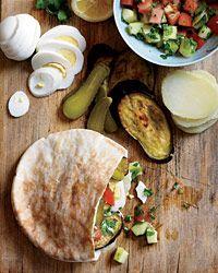 Israeli Roast Eggplant, Hummus and Pickle Sandwiches  - Middle Eastern on Food & Wine