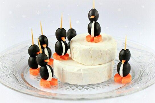Black olive cheese ball penguins | F O O D | Pinterest