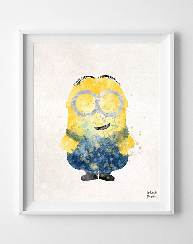Despicable Me Print, Minion Poster, Despicable, Gift Idea, Watercolor Art, Illustration, Giclee, Nursery Room Decor, Fathers Day Gift by InkistPrints on Etsy https://www.etsy.com/listing/194242164/despicable-me-print-minion-poster