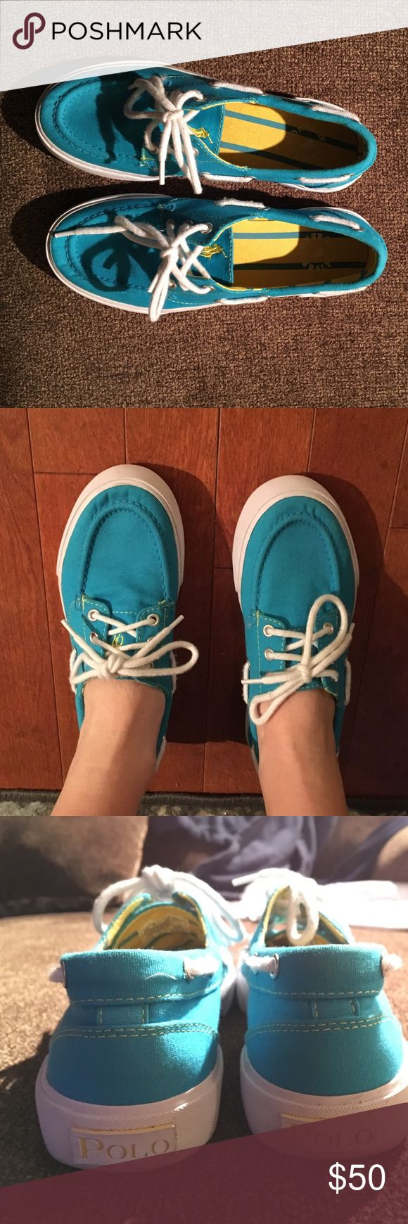 Blue Polo boat shoes Only worn once, in perfect condition! Polo by Ralph Lauren Shoes Sneakers