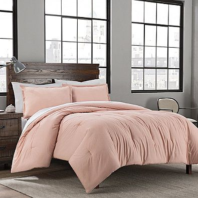 Garment Washed Solid 3-Piece Mini Full/Queen Comforter Set in Blush