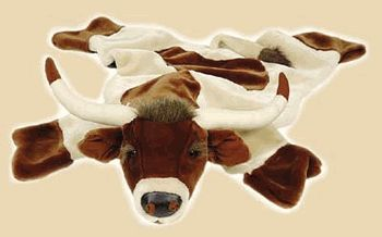 Plush Longhorn Rug.  What a soft cuddly rug for a toddler!  This plush longhorn rug makes a wonderful gift for the little cowboy or cowgirl!  Buy at Lights in the Northern Sky www.lightsinthenorthernsky.com