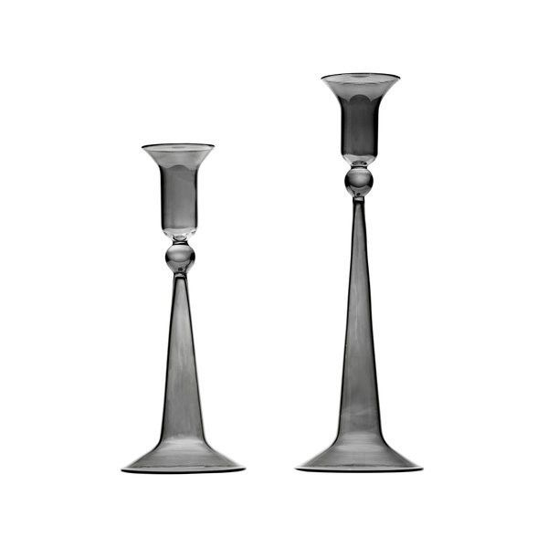 Casarialto Set of 2 Gray Classic Candle Holders (€135) ❤ liked on Polyvore featuring home, home decor, candles & candleholders, glass candlestick holders, grey home decor, glass candleholders, glass home decor and gray home decor
