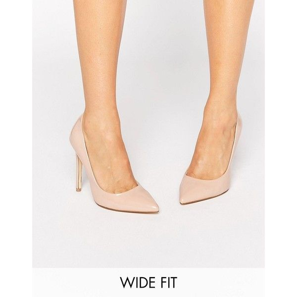 Faith Wide Fit Chloe Nude Court Shoes ($30) ❤ liked on Polyvore featuring shoes, pumps, beige, pointy toe pumps, nude high heel pumps, nude pumps, pointy toe high heel pumps and high heel pumps