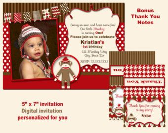Sock Monkey Birthday Party Package Sock Monkey by printablecandee