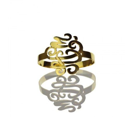 1.6 Inch Monogram Bracelet in Gold Plated