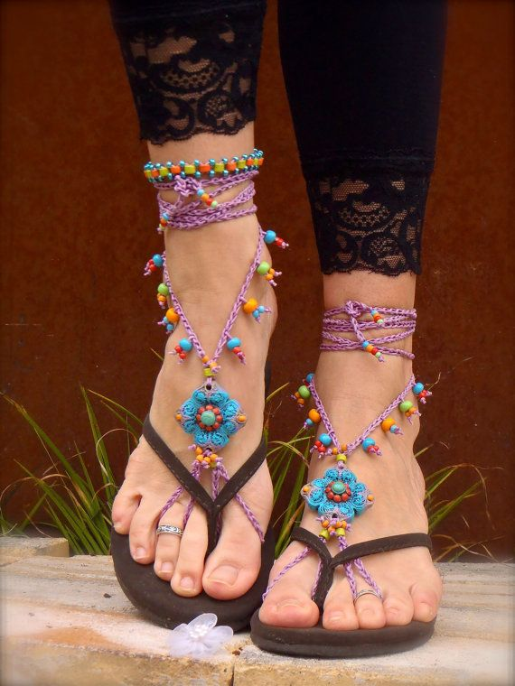 purple BAREFOOT SANDALS SUMMER crochet sandals Colorful beaded sandals foot jewelry beach wedding bohemian gypsy shoes photo shoot props. $76.00, via Etsy.