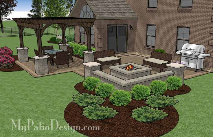 Fun Family Patio Design with Pergola   530 sq ft   Download Installation Plan, How-to's and Material List @Mypatiodesign.com