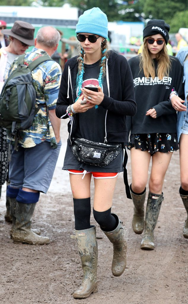 It's wellie time!  The model is spotted enduring rain for music at the Glastonbury Music Festival.