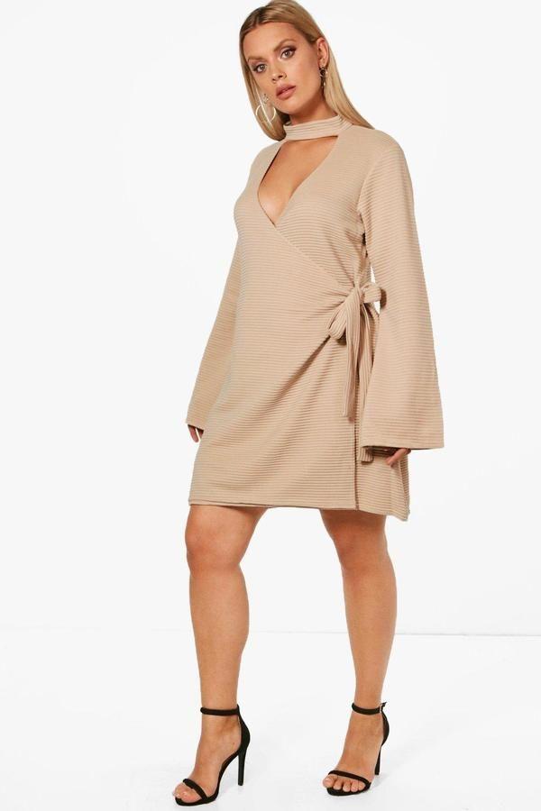 boohoo Plus Charly Choker Rib Wrap Dress