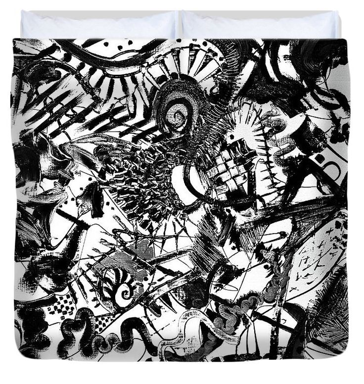 untitled Black and white Duvet Cover (King) by Expressionistart studio Priscilla Batzell.  Available in king, queen, full, and twin.  Our soft microfiber duvet covers are hand sewn and include a hidden zipper for easy washing and assembly.  Your selected image is printed on the top surface with a soft white surface underneath.  All duvet covers are machine washable with cold water and a mild detergent.