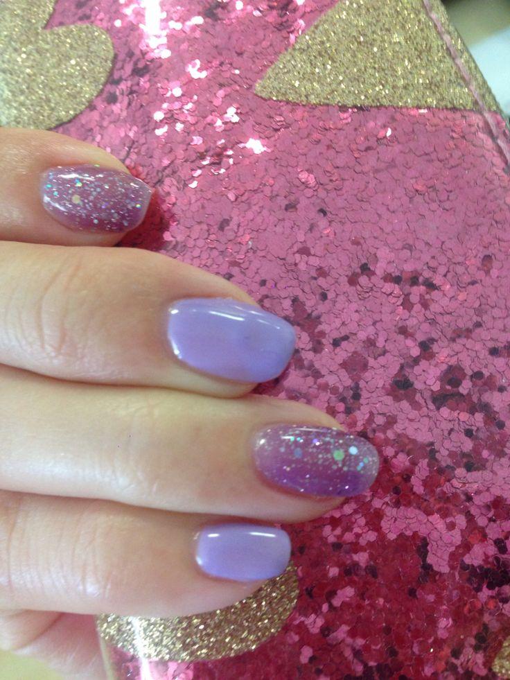 Purple glittery nail gel at Get Nailed MOI