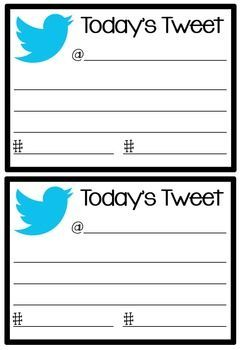 """Twitter exit cards -- Today's Teaching Tweet. Students put their names in the form of @____ and then below that they write what they learned from today's lesson. Lastly, they #hashtag a """"trending topic."""""""