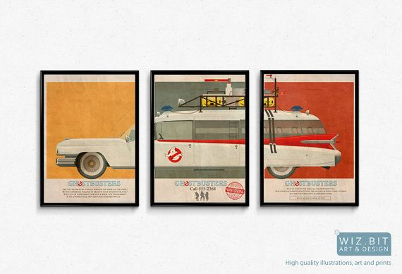 "Ghostbusters Car Ecto 1 Mondo Style Poster Artwork - 3 x 16""x12"" Quality Prints"