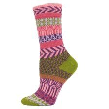 SUNRISE FAIRISLE Recycled Cotton Socks (Pink and Olive) by Minnesota Custom Woolens, Inc.. $14.95. Fun, Flattering Colors and Patterns. Plush Yet Breathable Styling. Made in the USA!. Crafted for Exceptional Stretch. Knit with Eco-Friendly Recycled Cotton. Wake Up to the Radiant Colors of the Morning! Made of 61% Recycled Cotton, 18% Acrylic, 10% Polyester, 9% Nylon, 2% Spandex.  Knit in the USA of US and Imported Yarns   Sock Size 9-11 or Ladies Shoe Size 5-10