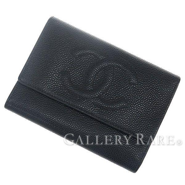シャネル 財布 キャビアスキン ココマーク A13225 CHANEL 三つ折り財布