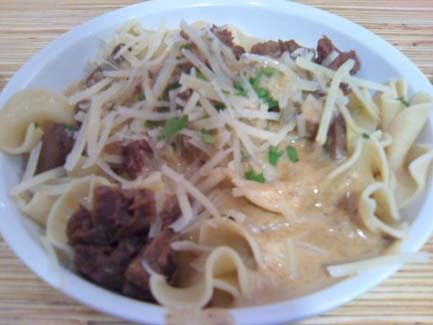Mushroom Stroganoff with Braised Beef from Noodles and Company.  #beef #noodles #restaurant #food #stroganoff