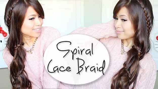 Here's the non-ponytail version: The Spiral Lace Braid | 23 Creative Braid Tutorials That Are Deceptively Easy