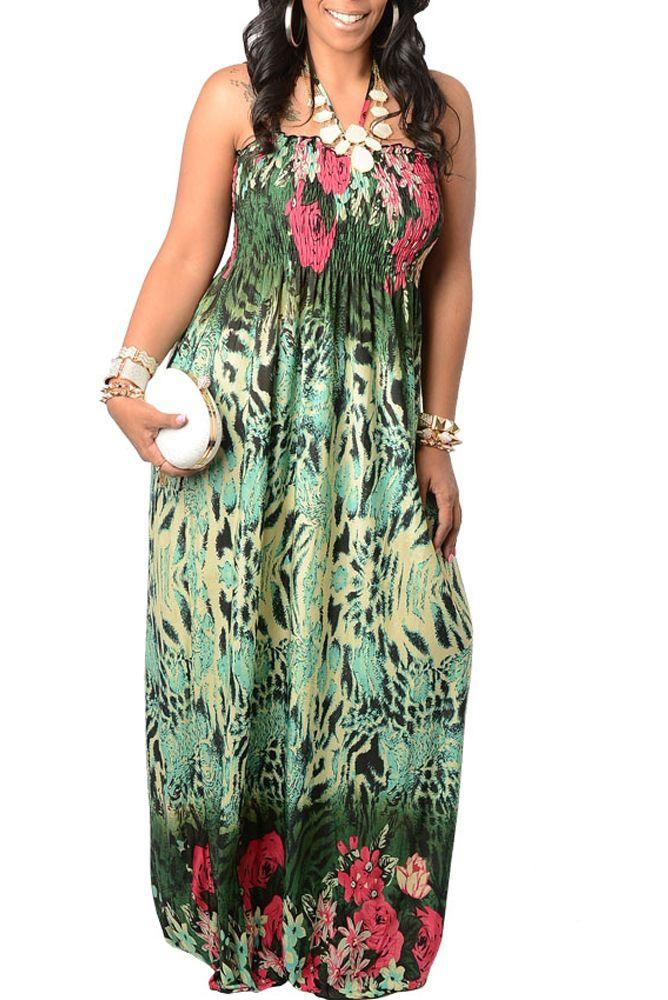Green Fuchsia Plus Size Sweet Tropical Halter Maxi Dress